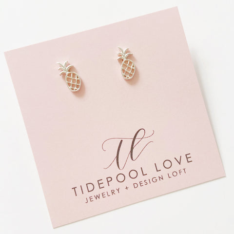 Mini Haleiwa Pineapple Studs (Sterling Silver)