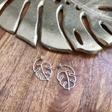 Monstera Leaf Outline Hoops (Sterling Silver)