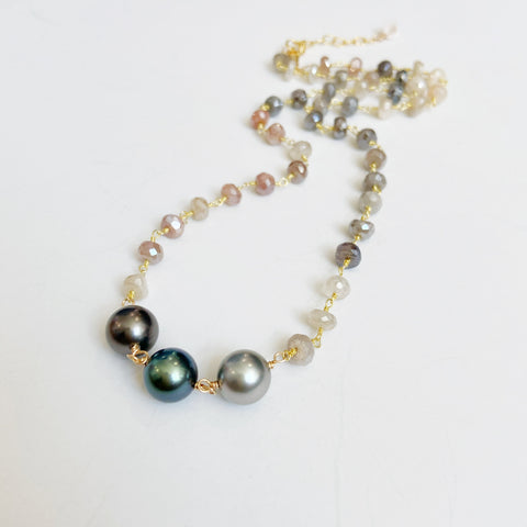 TRIO Tahitian Pearl + Ombré Moonstone Necklace
