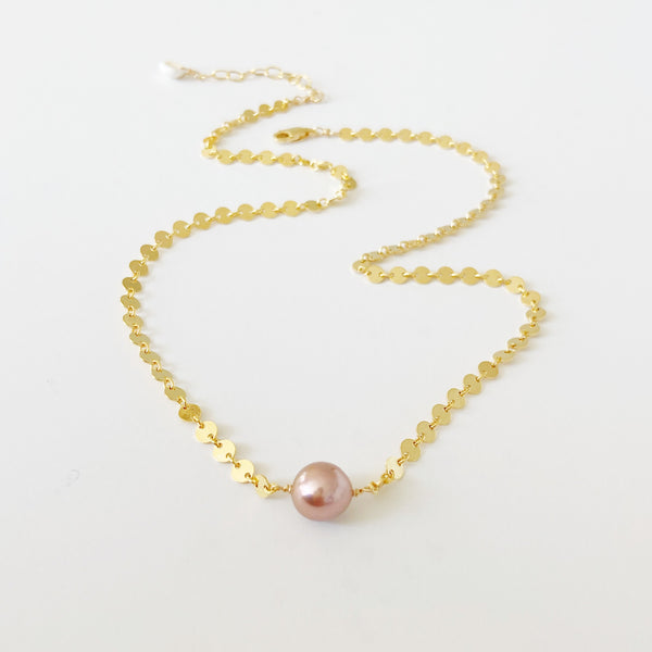 Cotton Candy Mini Moon Necklace (14k Gold Fill)