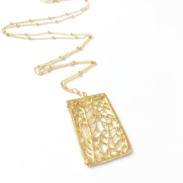 North Shore Coral Sea Fan Statement Necklace (14k Gold Vermeil)