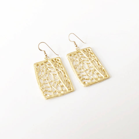 North Shore Coral Sea Fan Statement Earrings (14k Gold Vermeil)