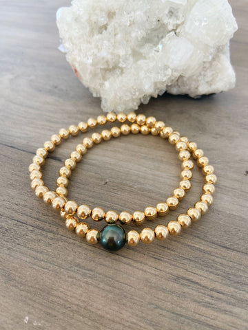 Tahitian Pearl Mermaid Bubble 14k Gold Fill Bracelet DUO