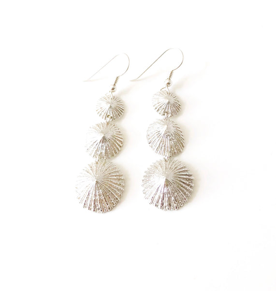 Mini Opihi Triple Drop Earring (Sterling Silver)