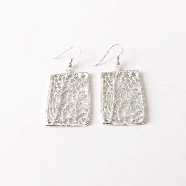 North Shore Coral Sea Fan Statement Earrings (Sterling Silver)