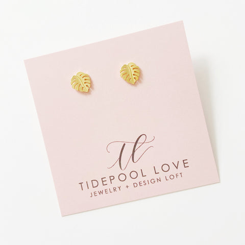 Mini Ko'olau Monstera Leaf Stud Earrings (14k Gold Vermeil)