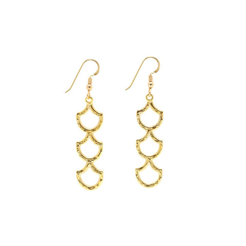 Mermaid Scale Lanikai Triple Earring (14k Gold Vermeil)