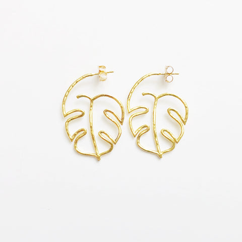 Monstera Leaf Outline Hoops (14k Gold Vermeil)
