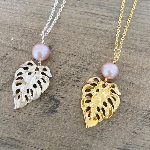 Cotton Candy Classic Monstera Long Necklace