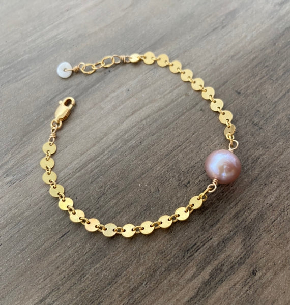Pink Mini Moons Bracelet (14k Gold Fill)