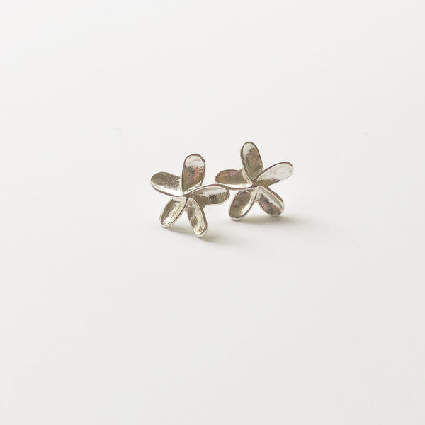 Mini Plumeria Stud Earrings (Sterling Silver)