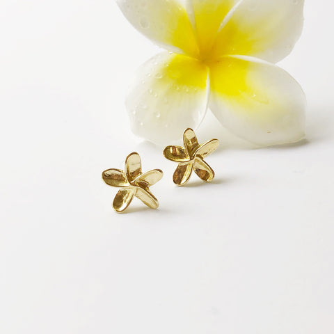 Mini Plumeria Stud Earrings (Solid 14k Gold)
