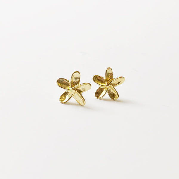 Mini Plumeria Stud Earrings (Gold Dipped)