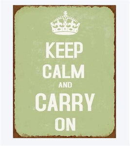 "Metalskilt ""KEEP CALM AND CARRY ON"""