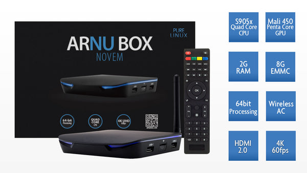 ARNU Box Novem - Pure Linux - Kodi 17.6 - Wireless AC - Cloudword