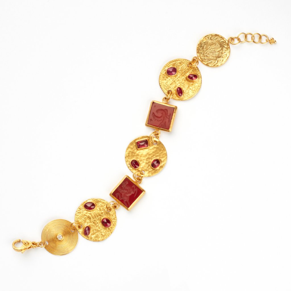 Love X Luxury Exclusive 24K Gold Ruby and Agate Bracelet