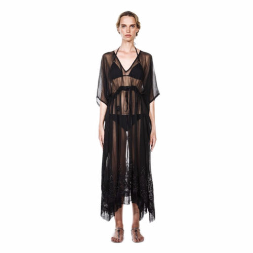 AZADA Beaded Caftan Black