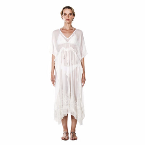 AZADA Beaded Caftan White