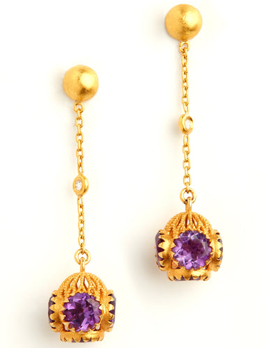 Love X Luxury Exclusive 24K Gold Earrings With Amethyst and Diamonds