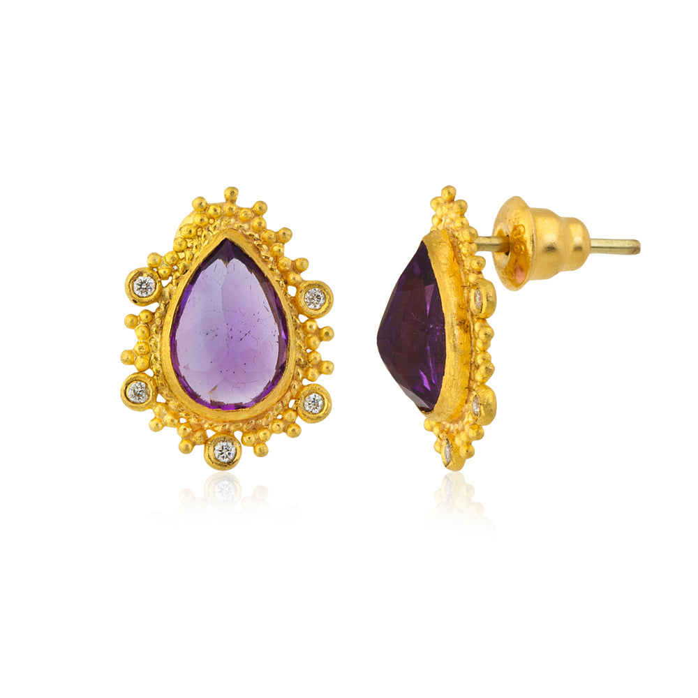 Love X Luxury Exclusive 24K Gold with Amethyst Earrings