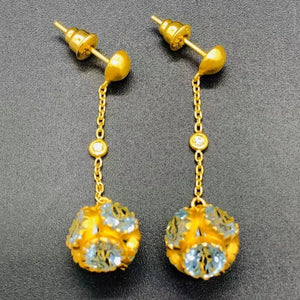 Love X Luxury Exclusive 24K Gold Earrings With Blue Topaz and Diamonds