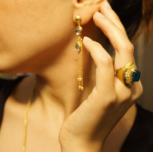 Love X Luxury Exclusive 24K Gold Moon and Star Blue Topaz Chandelier Earrings