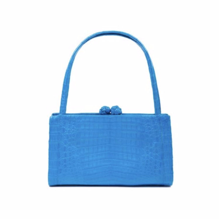 NANCY GONZALEZ Azure Crocodile Top Handle Bag