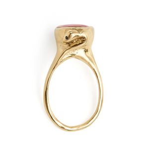 VANESSA LIANNE Ruby Snake Ring with Black Diamond