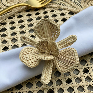 Artisan Handcrafted Iracca Palm Napkin Rings in Orchid Flower Shape