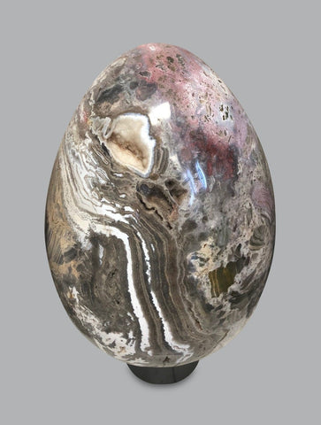 Huge Ocean Jasper Egg Sculpture with Quartz - 17 inches