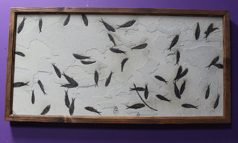 Framed Fossil Fish Mural from Wyoming, USA