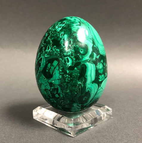 Beautiful Polished Malachite Egg - 1.22 lbs, 3.2""