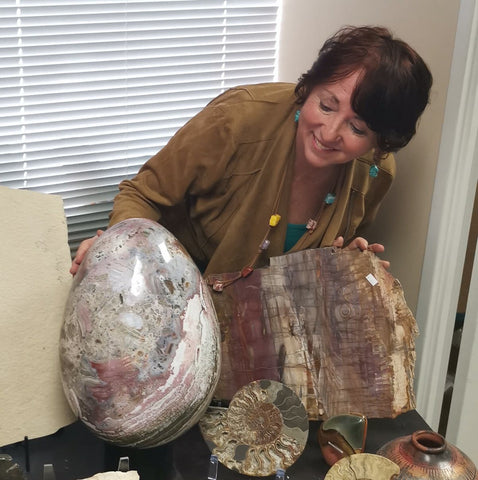 Ocean Jasper Egg, Exposed Quartz - 98 lbs