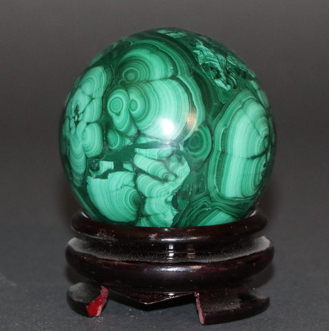 Polished Malachite Sphere - 1.32 lbs, 2.73""