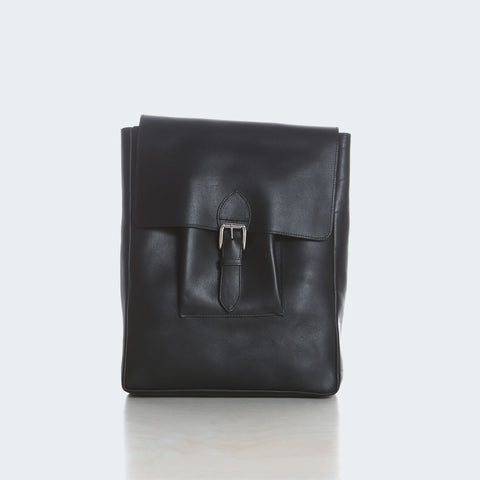 Large Leather Backpack - Black