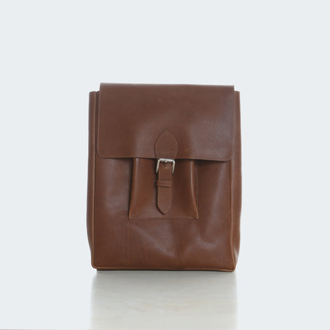 Large Leather Backpack - Brown