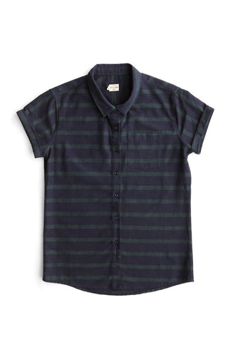 Bridge and Burn Bea Horizontal Stripe Short Sleeve Flannel