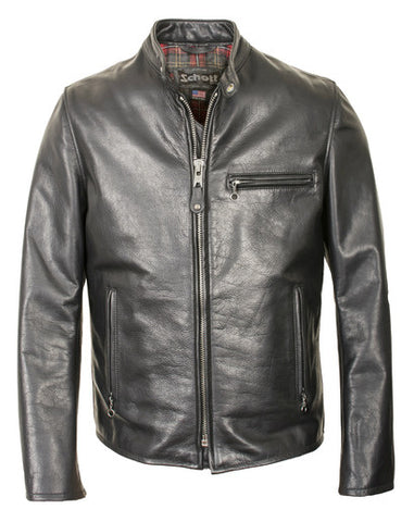 Schott 530 Waxed Black Natural Pebbled Cowhide Café Leather Jacket