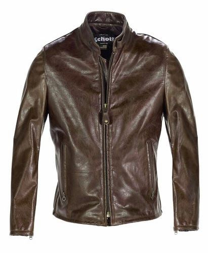 Schott 654 Casual Cafe Racer Motorcycle Leather Jacket