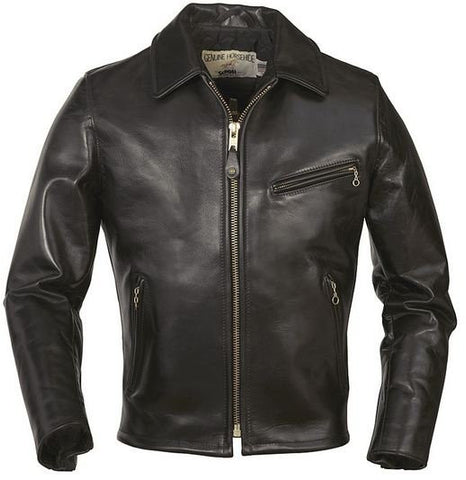 Schott Classic Horsehide Racer Motorcycle Jacket with Spread Collar 689H