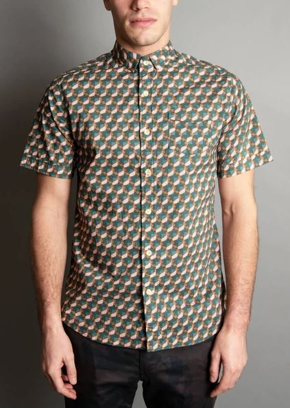 Descendant of Thieves Block Toy Print Short Sleeve Button Up