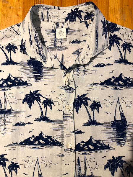 GMF 965 Palm Tree Print Short Sleeve Button Up
