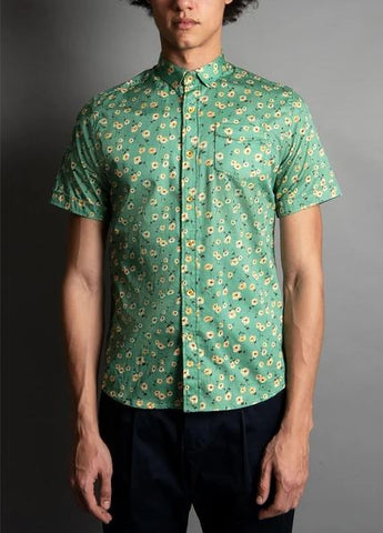 Descendant of Thieves Jade Days Floral Print Short Sleeve Button Up