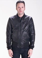 Schott MA-1 Leather Bomber Jacket in Lightweight Natural Pebble Cowhide