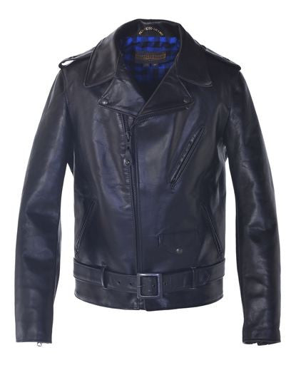 Schott P613S All Black Horween Steerhide  Motorcycle Leather Jacket