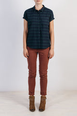 Bridge and Burn Bean Horizontal Stripe Short Sleeve Flannel