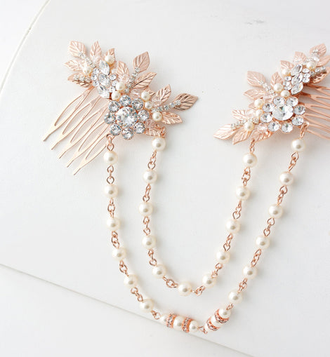 Rose Gold Hair Chain Wedding Headpiece Pearl Draped Bridal Hair Comb S Made With Love