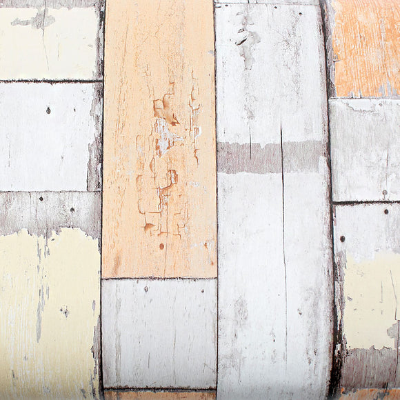 ROSEROSA Peel and Stick PVC Reclaimed Wood Decorative Instant Self-Adhesive Covering Countertop Backsplash Orange 22519 : 1.64 feet X 9.84 feet