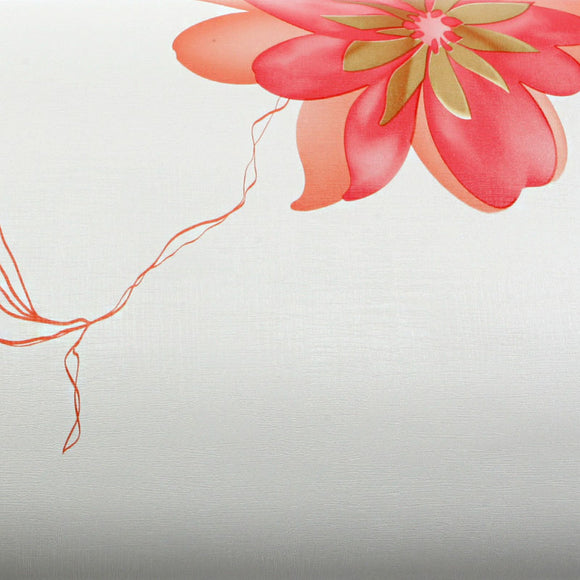 ROSEROSA Peel and Stick PVC Instant Floral Decorative Self-Adhesive Film Countertop Backsplash Oriental Flower Red MG9167-1 : 1.96 Feet X 8.20 Feet