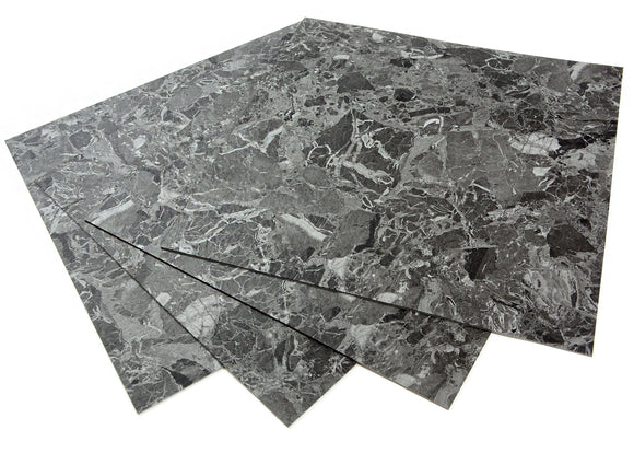 ROSEROSA Peel and Stick Engineered PVC Tiles Mable Granite Pattern Durable Vinyl Flooring (ECK-303 : 4 Tiles)
